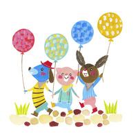 風船を持った動物たち 02427000235| 写真素材・ストックフォト・画像・イラスト素材|アマナイメージズ