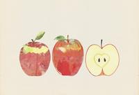 りんごの版画風イラスト