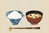 ごはんとお味噌汁の版画風イラスト
