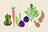 京野菜の版画風イラスト