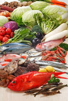 野菜・魚介集合 02428000009B| 写真素材・ストックフォト・画像・イラスト素材|アマナイメージズ