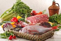 野菜・魚介・肉集合 02428000010A| 写真素材・ストックフォト・画像・イラスト素材|アマナイメージズ