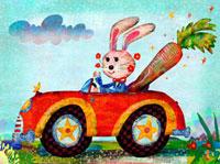 車に乗るウサギとにんじん 02432000093| 写真素材・ストックフォト・画像・イラスト素材|アマナイメージズ