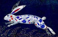 青い花のウサギ