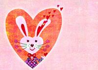 ピンクのハートとウサギ