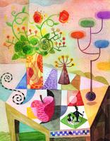 テーブルとリンゴと花