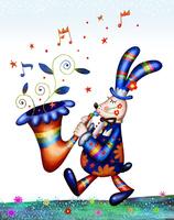 サックスと歩くウサギ