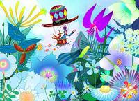 ハットに乗った親子と青い花