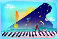 ピアノと人と犬