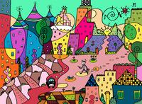 緑の空と街