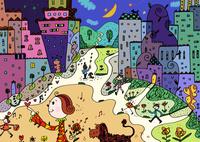 女の子と犬と街