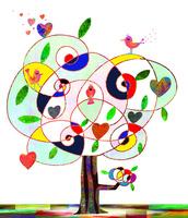 木と鳥とハート