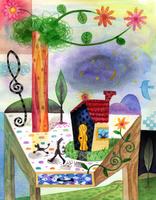 テーブルと花と家