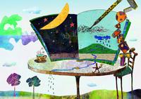 テーブルと本と月