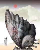 チョウの羽の岩