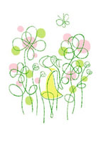 花畑の中に立つ女性と蝶々