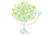 木と小鳥の親子と家