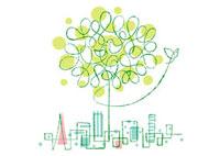 木と小鳥の親子と街