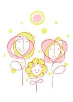 花の家族と太陽のイメージ