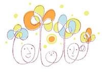 花を持つ家族と太陽