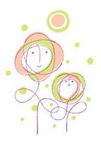 花の親子と太陽のイメージ
