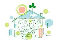 家と家族と太陽と三つ葉 02438000041| 写真素材・ストックフォト・画像・イラスト素材|アマナイメージズ
