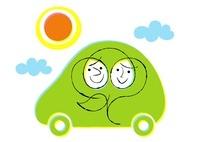 車の男女と太陽エコカーイメージ