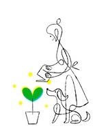 ハートの芽に水をあげる女性と犬