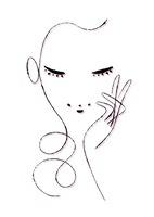 片手を頬に添える女性
