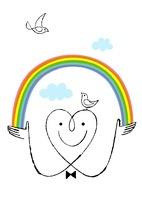 ハートの顔と鳥と虹