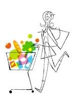 ショッピングカートをおす女性