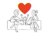 ハートとソファーで寛ぐ家族
