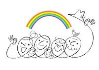 2世帯家族の顔と鳥と虹