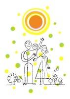 太陽と家族と背景