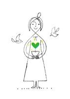 ハートの芽の鉢を持つ女性と鳥