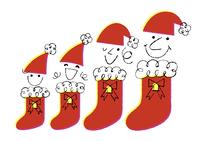 赤い帽子と靴下の家族4人