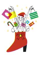 ショッピングバックを持つ女性と赤いブーツ
