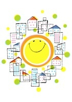 街の中の笑顔の太陽 02438000103| 写真素材・ストックフォト・画像・イラスト素材|アマナイメージズ