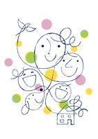 家族の顔と家と小鳥 02438000112| 写真素材・ストックフォト・画像・イラスト素材|アマナイメージズ