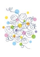 人々の笑顔と小鳥 02438000113| 写真素材・ストックフォト・画像・イラスト素材|アマナイメージズ