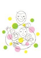 家族4人と丸いパターン