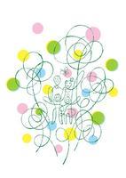 花々に囲まれた家族と蝶々 02438000141| 写真素材・ストックフォト・画像・イラスト素材|アマナイメージズ