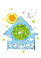 家族2世帯と鳥の親子と家と樹と太陽