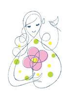 女性と花と鳥