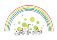 虹の中の街と木と鳥