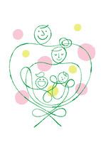 ハートの形をした家族と円