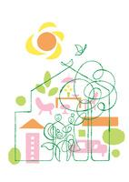 家族と家の中のファニチャー樹と太陽と小鳥