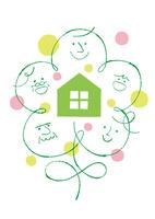 花の形をした三世代家族と家と円