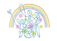 車椅子に座る祖母を囲む家族と虹と鳥