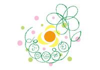 三世帯家族と大きな花と太陽
